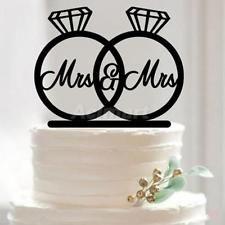 2x Mrs & Mrs Silhouette Acrylic Wedding Party Cake Topper Laser Cut Diamond Ring