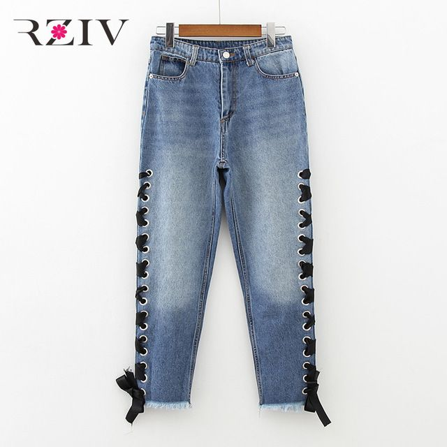 RZIV 2017 женские случайные чистый цвет лук украшенные джинсы