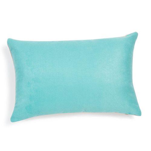 Kussen in blauwe stof 30 x 45 cm SUEDE