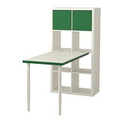 IKEA - KALLAX, Schreibtischkombination, , Kann längs oder quer eingesetzt werden – als Regal oder Sideboard geeignet.Vorgebohrte Löcher in der Platte erleichtern das Anbringen der Tischbeine.Die Tischplatte kann in der gewünschten Höhe montiert werden, da die Beine zwischen 60 und 90 cm verstellbar sind.Der Tisch lässt sich problemlos umstellen; Kunststoffkappen schützen den Fußboden vor Kratzern.Zum Anbringen aller Tischplatten, die nicht aus Glas sind, am KALLAX Regal.Der Beschlag ist mit…