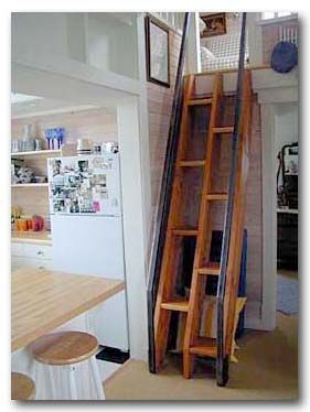 Stair that are simple, safe, (handrails!) and takes up very little space.