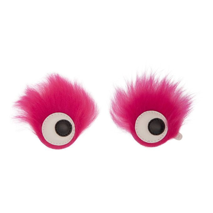 Anya Hindmarch - Pink Furry Shearling Eyes Stickers
