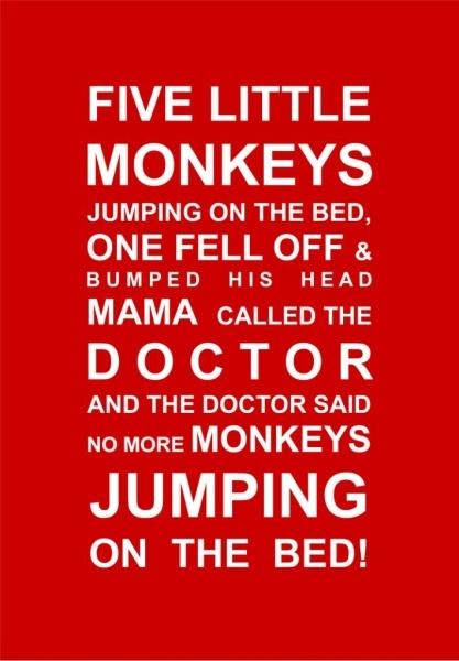 Five Little Monkeys Print - my niece's favourite rhyme!
