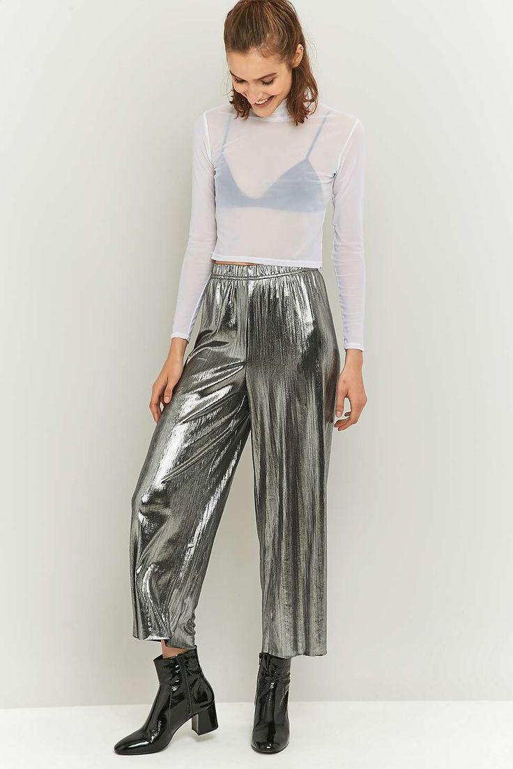 Light Before Dark Metallic Silver Pleated Trousers