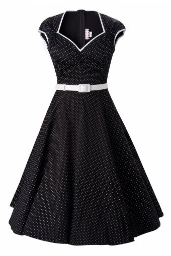 Pinup Couture - Heidi dress Black Pin Dot