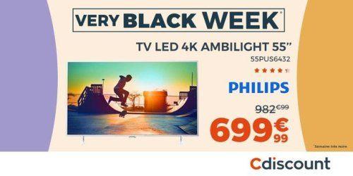 [ #VERYBLACKWEEK ] PHILIPS 55PUS6432 #TV LED 4K Effet Ambilight...