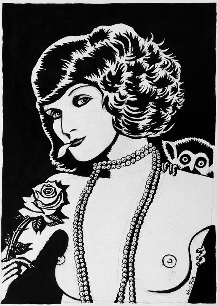 Only 2 days to go/Nur noch 2 Tage: Neal Fox – Lust for Life Today with Anita Berber eating a white rose dipped into opium.  Neal Fox, Opium Rose, 2015, Ink on paper Tusche auf Papier, 59,5 x 42 cm