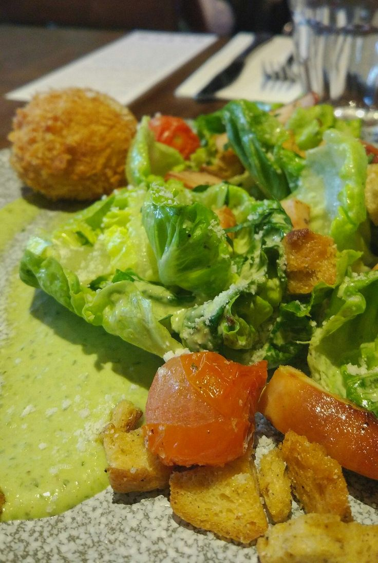Green salad with deep fried boiled egg @ the dutch