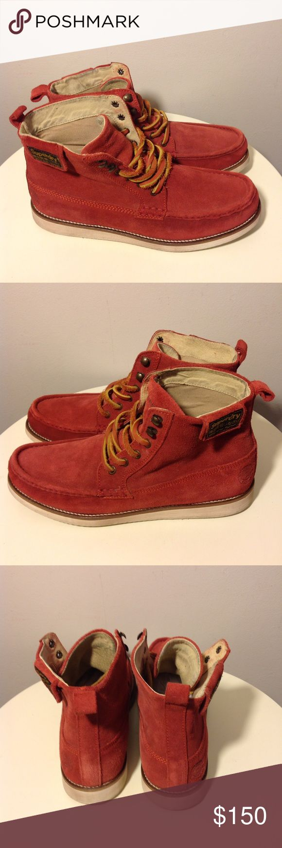 """Superdry Suede Trapper Boots Men's Sz 10/44 Great pre-owned condition  Suede ankle boots in """"Rojo Rust"""" (rusty red) Eyelet and speed lace fastening Fold over ankle patch with snaps Contrast manmade sole Embossed heel logo Men's size 10 US / EU 44 Superdry Shoes Chukka Boots"""
