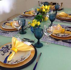 Blog Patty Freitas: Mesa Posta # Inspiração Copa do Mundo Azul & Amarelo