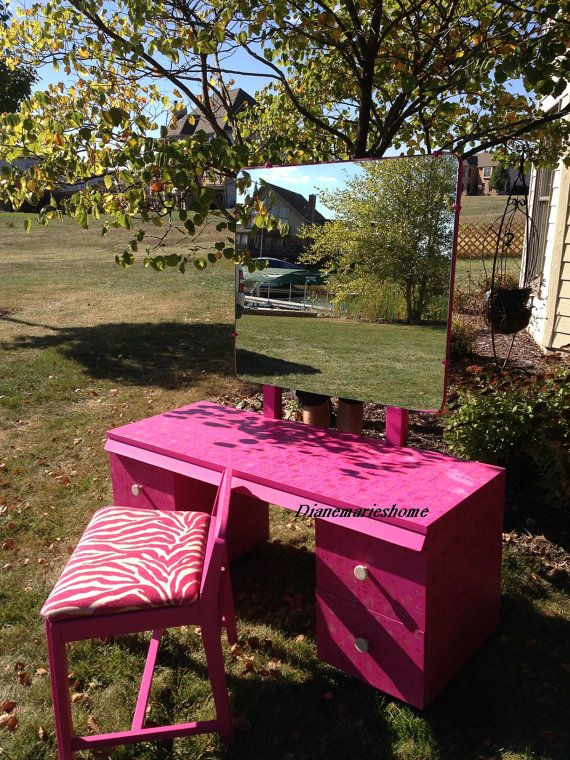 Sold. midcentury repurposed painted hot pink makeup vanity / desk  zebra print chair and mirror