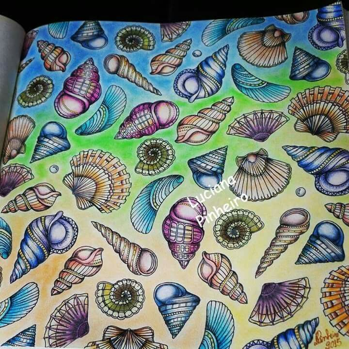 Johanna Basford Doodles Zentangles Adult Coloring Colouring Enchanted Art Projects Prismacolor Seashells Journaling