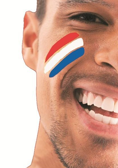 FANBRUSH FLAG FACE PAINT HOLLAND NEDERLAND NETHERLANDS RED WHITE BLUE