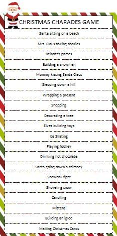 Christmas Charades Game! Play with your family, neighbors or at your Christmas work party, sure to be an ice breaker and a memory maker! Have your camera ready!!!!