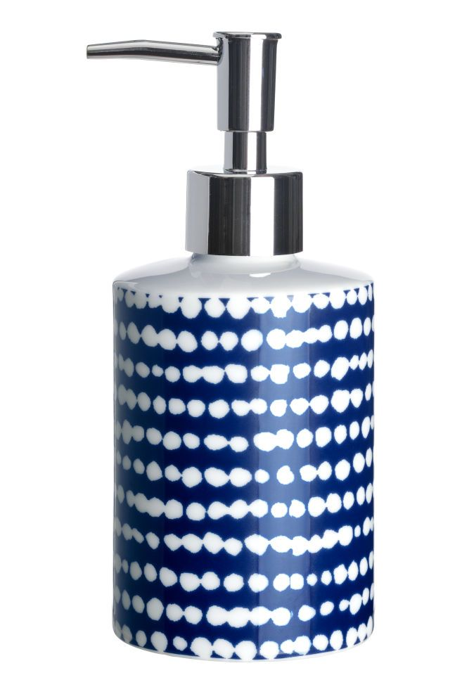 Porcelain Soap Dispenser Navy Blue White Spotted Home All H M Us 1 Blue Bathroom Accessories Soap Dispenser Blue Kitchen Accessories