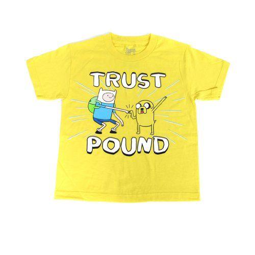 Adventure Time Finn Jake Trust Pound Yellow Childrens T-Shirt L @ niftywarehouse.com #NiftyWarehouse #AdventureTime #TVShow #Cartoon #Show #CartoonNetwork