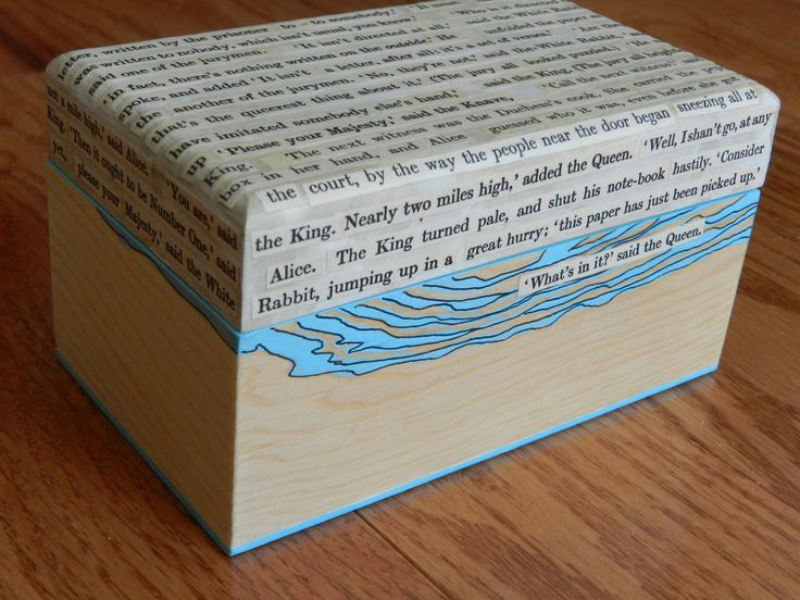 4 x 5 inch wooden box, mixed-media, collaged text from Alice in Wonderland. By Margo Hebert