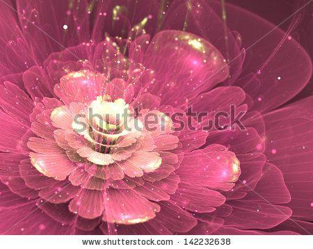 purple fractal flower with golden sparkles, illustration by Anikakodydkova, via Shutterstock