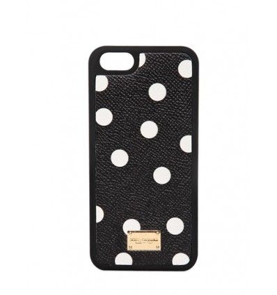 Polka dot printed leather insert. Metal logo plaque. Suitable for iPhone 5. Print may vary slightly . Made in Italy