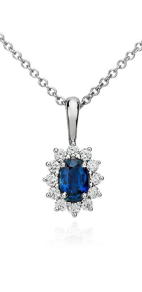 Angara Rabbit Ear Natural Swiss Blue Topaz Necklace in White Gold F9vGgX6Nr