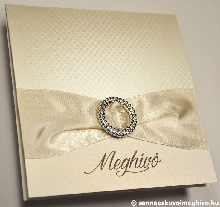 Ekrü csillogás 5 esküvői meghívó, meghívó, ekrü esküvői meghívó, szalagos esküvői meghívó, sannaeskuvoimeghivo, egyedi esküvői meghívó, wedding card