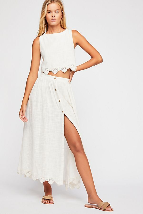 dfd69a3c87c30 Absolute Goddess Set - Linen Co-Ord Set with Cropped Tank and Skirt with  Lace Hems