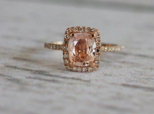 pink!: Wedding Ring, Rosegold, Peach Sapphire, Roses, Engagement Rings, Rose Gold
