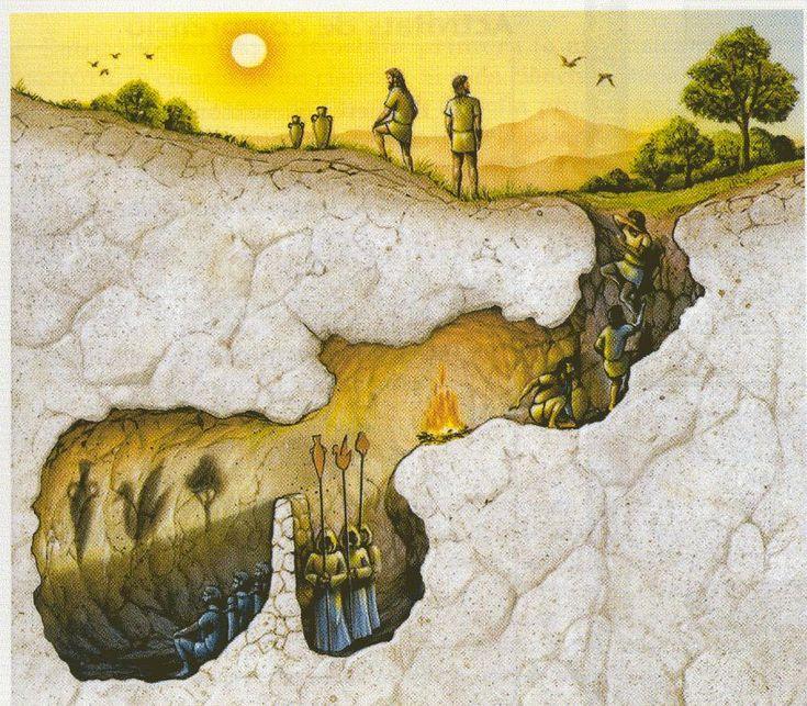 « Représente-toi de la façon que voici l'état de notre nature relativement à l'instruction et à l'ignorance. Figure-toi des hommes dans une demeure souterraine, en forme de caverne, ayant sur toute sa largeur une entrée ouverte à la lumière…Assurément, de tels hommes n'attribueront de réalité qu'aux ombres des objets fabriqués » Platon La République.