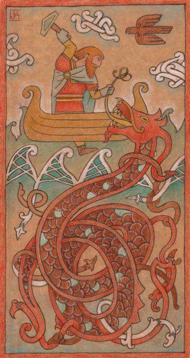 Thor vs Jormungandr, the World Serpent