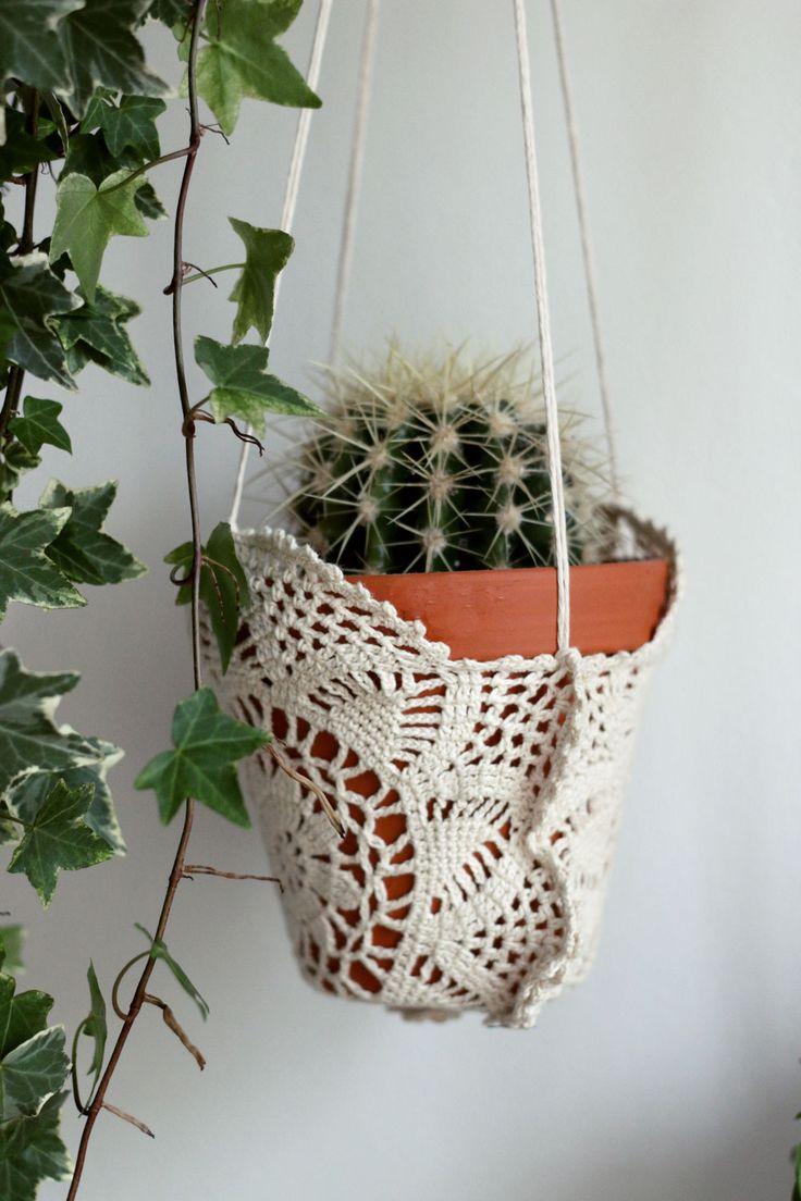 DIY doily plant hanger