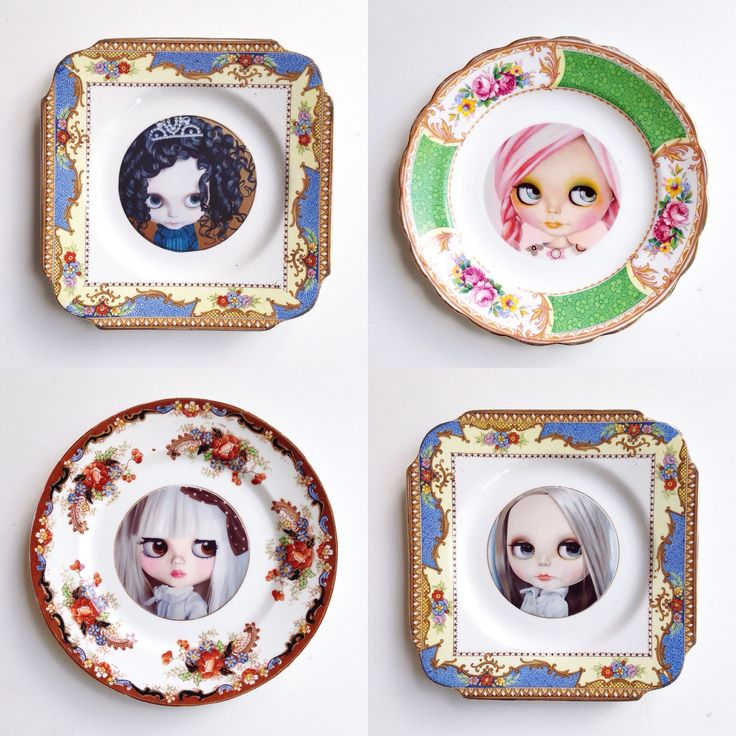Vintage plates with Blythe Doll altered art from my original paintings :) for your gallery wall home decor