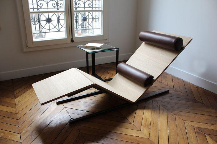 """La chaise longue Vaneau est la troisième création que l'on vous présente du designer Alexandre de Rouvray. Alexandre réussit une nouvelle fois à marier l'acier et le bois dans une ré-interprétation de la fameuse Chaise Longue LC4 de Le Corbusier.  """"J'ai cherché à épurer davantage la forme, et à réduire le coussinage au minimum pour obtenir un confort ferme tout en étant ergonomiquement parfait. Ainsi, seuls deux coussins, un coussin lombaire et un appui-tête, permettent de maintenir le…"""