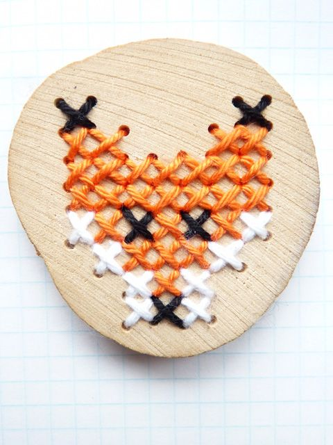 Wooden brooch fox embroidery