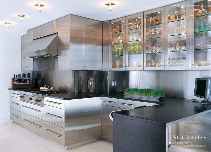 Retro Metal Kitchen Cabinets Design Plan, Stainless Steel Kitchen St Charles  Of New York, Award Winning Kitchen St Charles Of New York, Metal Top Design  Of ...