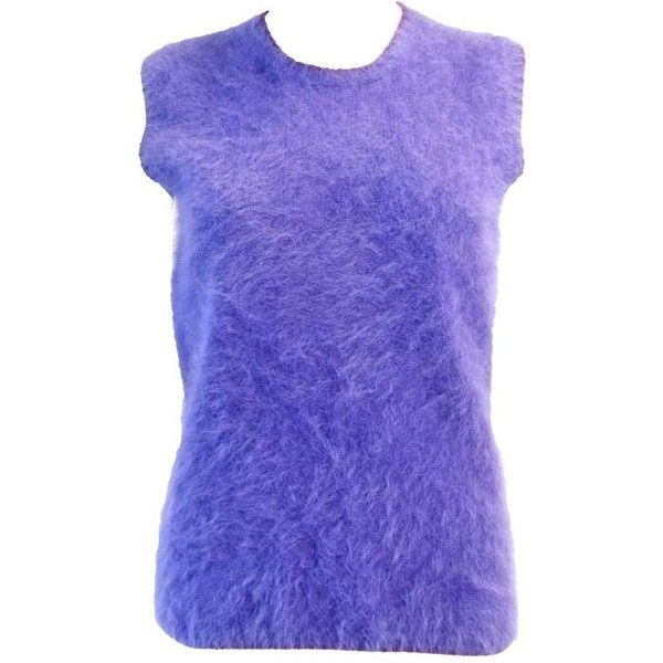 Preowned 1990s Gianni Versace Couture Purple Angora Sweater (1.185 BRL) ❤ liked on Polyvore featuring tops, sweaters, purple, versace top, purple top, angora sweaters, no sleeve sweater and layered sleeveless top