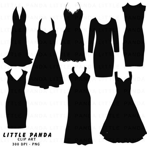 Black Dress Silhouette Digital Clip Art Personal And Etsy In 2021 Black Dress Dress Silhouette Dresses