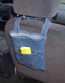 Como hacer un bolso porta objetos para el auto reciclando un jean