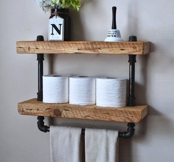 2 Tier Industrial Bathroom Shelf With Towel Bar With Images