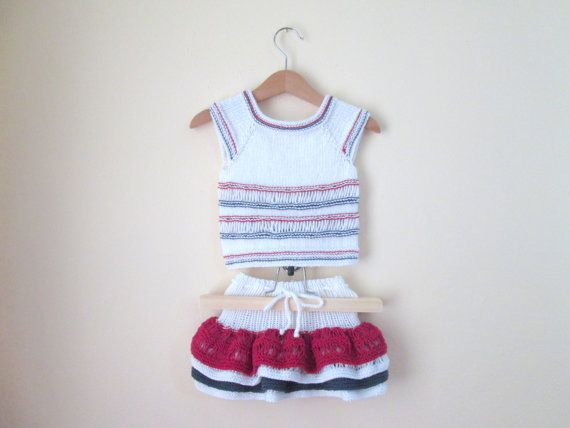 Girl Skirt and Top Frilly Organic Cotton Yarn  by AmuletEvilEye