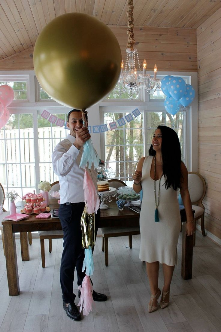GOLD Gender Reveal Balloon Or SILVER Gender Reveal Balloons Party Balloon  Pop   Giant Balloon With