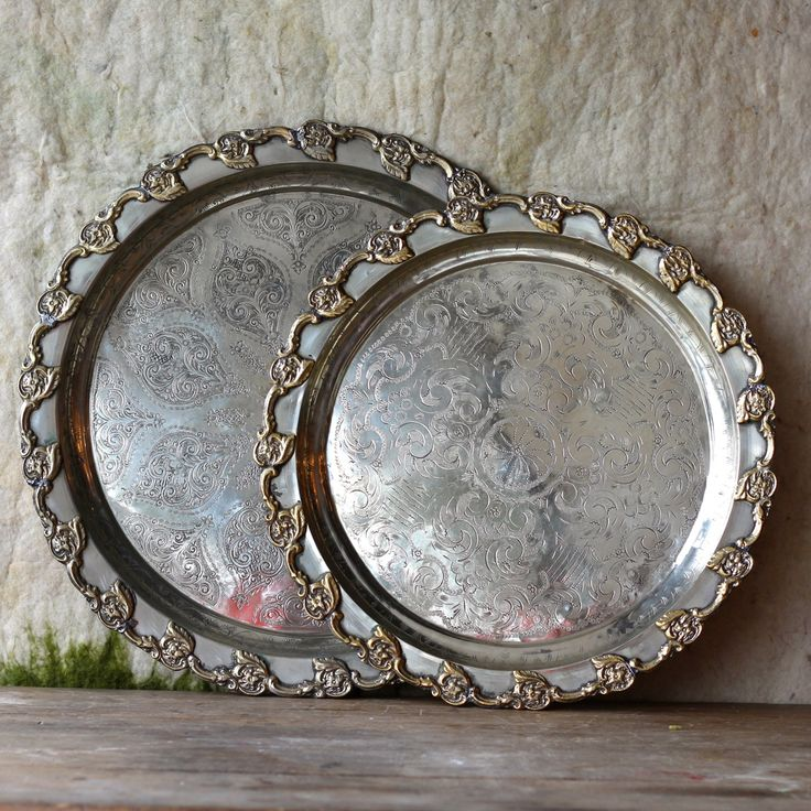 Vintage Moroccan metal trays - round with decorative brass edge detail