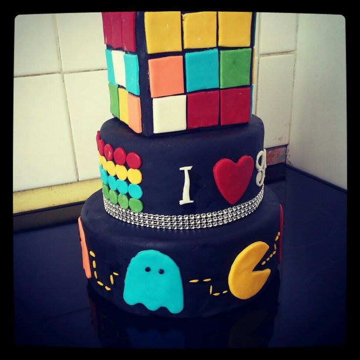 80s theme 3 tier cake dummy