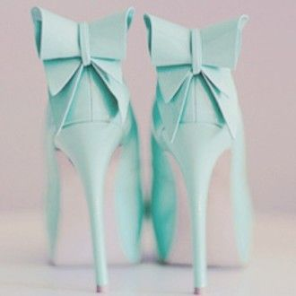 Pale Blue Bow Pumps
