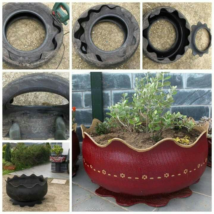 Flower pot made from old tire