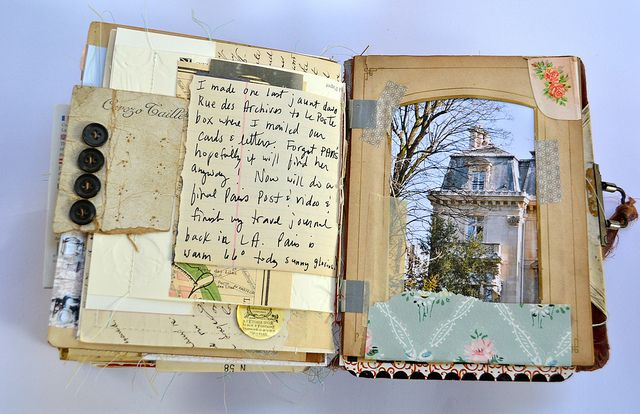 Paris journal by MaryAnn Moss    --I so wish I had kept those albums for my sisters with the openings like the one on the right.........sometimes I regret what I let go because back then I was not as inspired......thank you for this beautiful example......... j