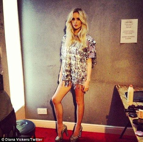 Revealing: Diana Vickers stripped off to take these candid Twitter photos as she was in a playful mood backstage at one of her concerts