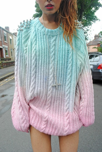 dip dye ombre spiked oversized jumper