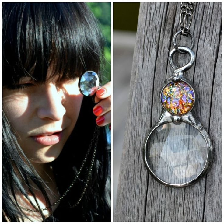 Kaleidoscope necklace with vintage glass opal inset. Ive several different colors available. See link : )