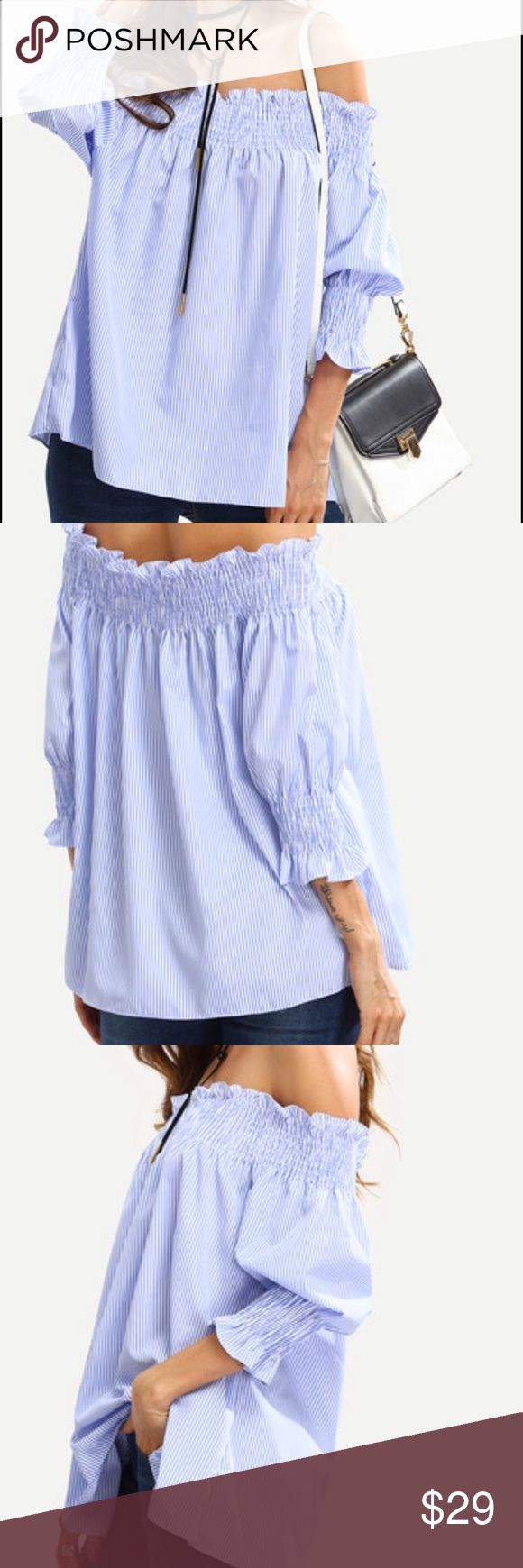 SUPER CUTE BLUE SMOCKED OFF THE SHOULDER TOP ADORABLE  is this cotton & comfy top. Adjustable off the shoulder fit. Good length to tuck in or wear loose. Tops Blouses