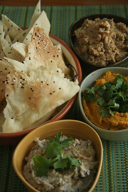 Lavash Crackers with Three Middle Eastern Dips - Middle Eastern Bean Dip, Persian Olive, Walnut and Pomegranate Dip (Zeitoon Parvadeh), Moroccan-Spiced Carrot Dip
